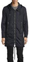 Diesel Hooded Long Nylon Wind-Resistant Jacket