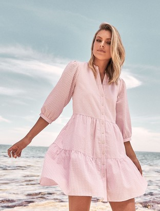 Forever New Gina Gingham Smock Dress - Pink Gingham - 8