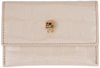 Alexander McQueen Pink Croc Skull Envelope Card Holder