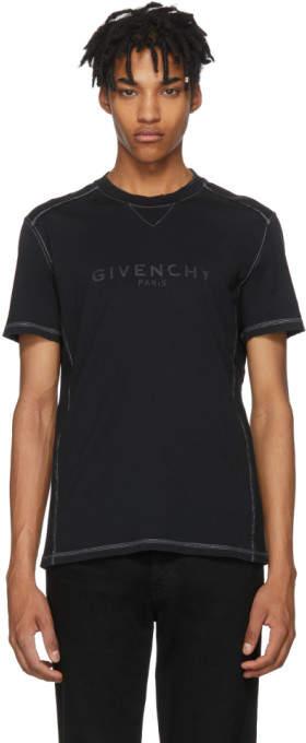 Givenchy Black Ribbed Vintage Logo T-Shirt