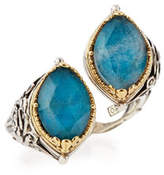 Konstantino Marquis Crystal Quartz Over Chrysocolla Doublet Bypass Ring