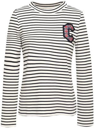 Claudie Pierlot Appliqued Striped Knit-cotton Top