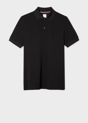 Paul Smith Men's Black Cotton-Pique Polo Shirt With Charm Buttons
