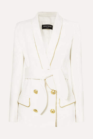 Balmain Belted Double-breasted Woven Blazer - Off-white