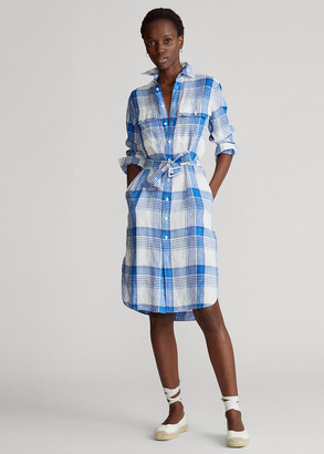 Ralph Lauren Plaid Linen Shirtdress