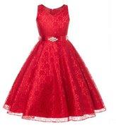 LOVEBEAUTY Girl's Lovely Lace V-Neck Flower Girl Dress Party Sundress