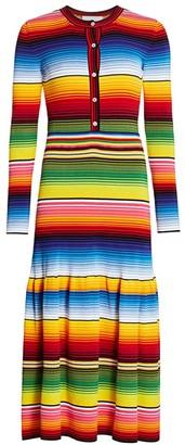 Carolina Herrera Striped Henley Midi Dress