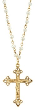 "2028 14K Gold Tone Simulated Pearl Chain Crucifix Cross Pendant Necklace 16"" Adjustable"