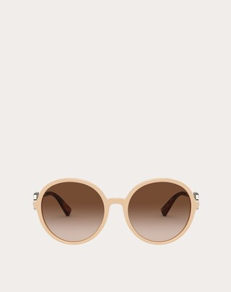 Valentino Round Acetate Frame With Vlogo Signature Crystals Women Havana/gradient Brown Acetate 100% OneSize