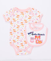 Buster Brown Orchid Pink 'Super Cute Friends' Two-Piece Bodysuit & Bib