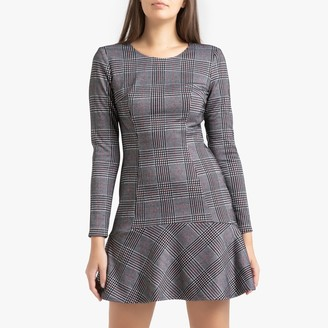 Liu Jo Short Checked Dress with Long-Sleeves
