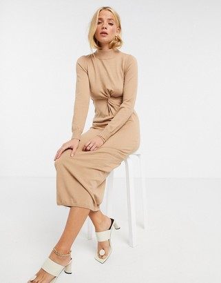 ASOS DESIGN knitted dress with ruched side and cut out detail in tan