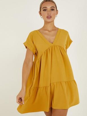 Quiz V-Neck Short Sleeve Tiered Smock Dress - Mustard