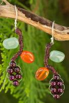 Thai Handcrafted Gemstone Earrings, 'Bright Ivy'