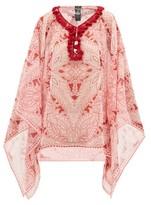 Etro Pompom-trim Floral-print Georgette Top - Womens - Pink Print