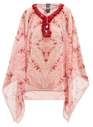 Etro Pompom-trim Floral-print Georgette Top - Womens - Pink Print