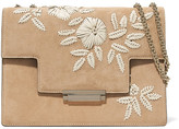 AERIN Embroidered Suede And Leather Shoulder Bag - Beige