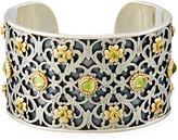 Konstantino Color Classics Floral Cuff Bracelet w/ Peridot