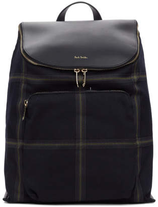 Paul Smith Navy Check Bucket Backpack