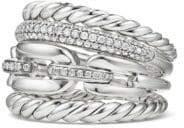 David Yurman Diamonds& Sterling Silver Stack Ring