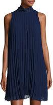 Max Studio High-Neck Sleeveless Pleated Dress, Purple/Blue