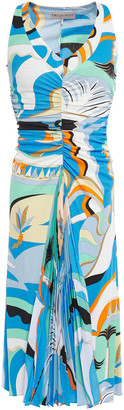 Emilio Pucci Printed Pleated Crepe De Chine-paneled Ruched Jersey Dress