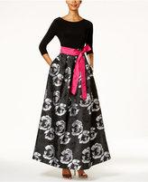 Jessica Howard Floral-Print Taffeta Ball Gown