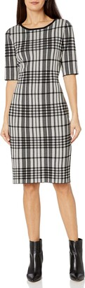 Taylor Dresses Women's Elbow Sleeve Plaid midi Sweater Dress
