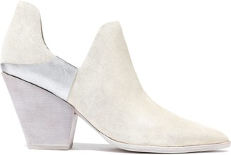 Sigerson Morrison Cathy Metallic Leather-paneled Suede Ankle Boots