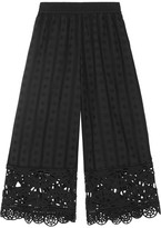 Opening Ceremony Cropped Broderie Anglaise Cotton Wide-leg Pants - Black