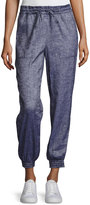 Theory Cortlandt Tierra Smocked-Cuff Jogger Pants, Blue