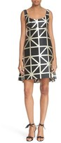 Milly Women's 'Roxanne' Graphic Grid Jacquard Dress