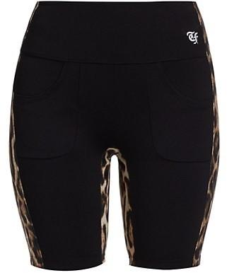 R 13 Leopard Side Stripe Biker Shorts