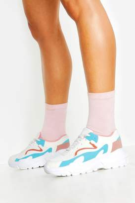 boohoo Colourblock Panel Chunky Sole Lace Up Trainers