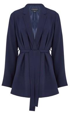 Dorothy Perkins Womens Navy Unlined Tie Waist Jacket