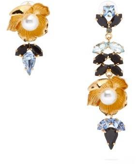 Erdem Blossom Mismatch Crystal-embellished Drop Earrings - Womens - Blue Multi