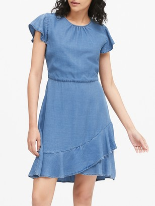 Banana Republic TENCEL Flutter-Sleeve Mini Dress