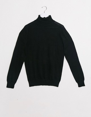 Brave Soul 100% cotton roll neck sweater in black