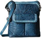 M&F Western - Floral Embossed Buck Stitch Crossbody Cross Body Handbags