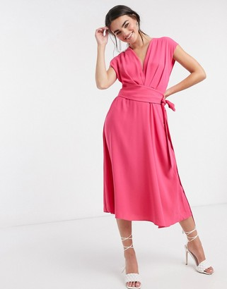 ASOS DESIGN sleeveless pleat front midi skater dress with obi belt in hot pink