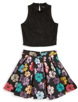 Girl's Miss Behave Savanna Meet & Greet Solid Top & Floral Skirt Set
