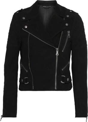 Alice + Olivia Miles Stretch Knit-paneled Quilted Suede Biker Jacket