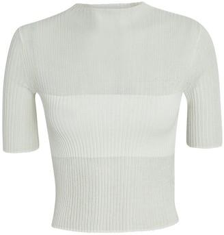 Dion Lee Rib Knit Semi-Sheer Crop Top