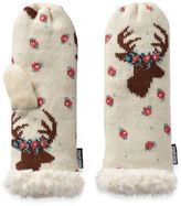 Muk Luks Women's Deer Heavy-Knit Mittens