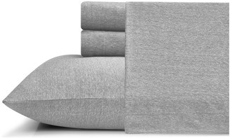 Mhf Home Cotton Heather Jersey Knit Sheet Set, Gray, Queen