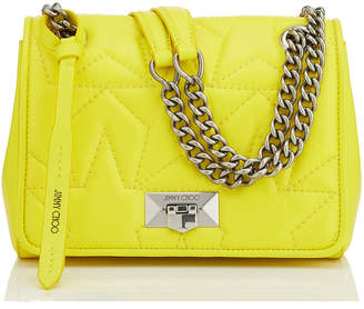 Jimmy Choo HELIA SHOULDER BAG/S Fluorescent Yellow Star Matelasse Nappa Shoulder Bag with Silver Chain Strap