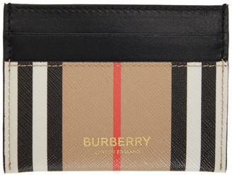 Burberry Beige E-Canvas Icon Stripe Card Holder