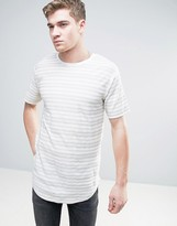 ONLY & SONS Longline T-Shirt with Curved Hem and Textured Stripe