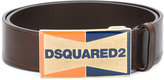 DSQUARED2 enameled logo plaque belt - men - Calf Leather - 90