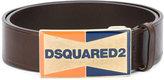 DSQUARED2 enameled logo plaque belt